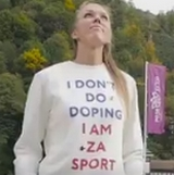 Sergejeva met anti-doping t-shirt